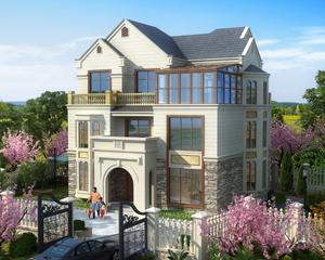 AT1750江山市优雅三层带阳光房复式楼中楼别墅设计施工图纸13.5mx11.3m