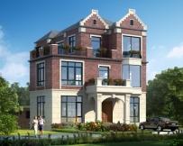 AT1801英伦风格三层带内庭院漂亮别墅设计图纸及效果图10.9mX15.8m