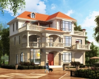 简欧新品AT1840三层屋顶花园带车库别墅设计施工图纸15mX11.4m