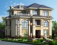 2019新款AT1856带庭院欧式三层复式漂亮别墅设计图纸12.6mX10m