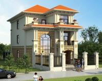 AT1866新农村简欧三层复式小开间别墅设计全套施工图纸8mX19m