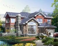 新款AT1868二层简洁大方带车库美式风格别墅设计图纸14.7mX14.7m