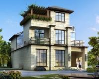 AT1875新亚洲风格三层带内庭院漂亮别墅设计全套施工图纸10.5mX18m