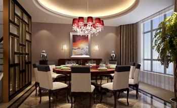 二层别墅怀化市现代中式餐厅装修效果图