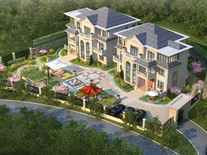双栋豪华别墅带庭院园林花园设计欣赏