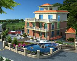 带篮球场泳池私人别墅景观庭院设计效果图