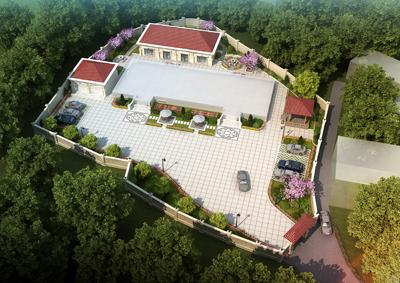 岳阳何府别墅2000平米庭院大门及园林景观设计案例欣赏