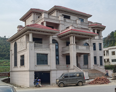 湖南双峰张总石材干挂四层带地下室欧式高端别墅实建施工案例