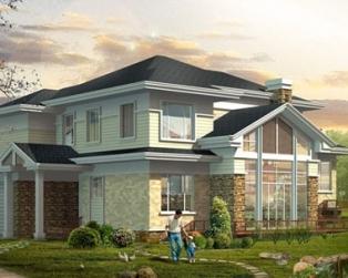 AT269二层复式客厅豪华别墅带车库设计施工图纸16.8m×16.8m