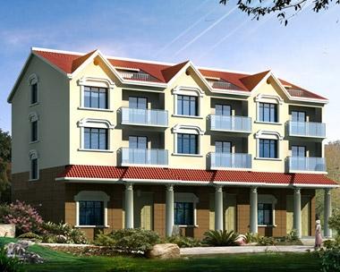AT103三层三户联排带车库阁楼别墅建筑施工设计图纸22m×12m