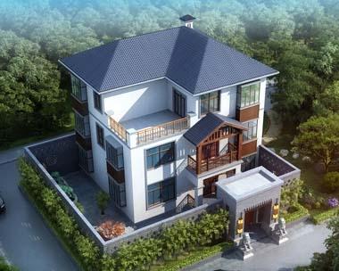 永云别墅AT246三层现代中式最最好看别墅全套设计图纸12mx10m