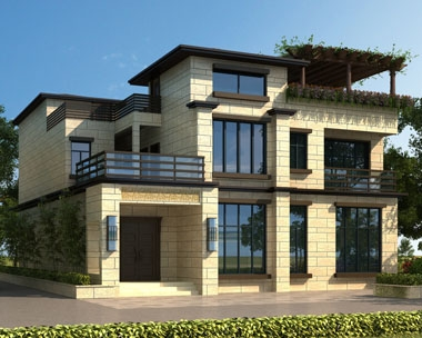 永云别墅AT1675现代中式带内庭院三层别墅设计图片13mx18.04m