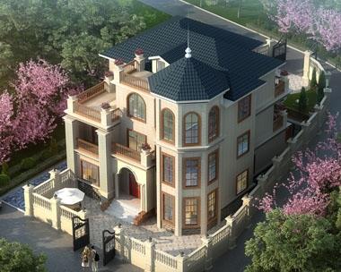 AT1732旅游区/景区特色三层复式楼中楼别墅建筑设计图纸12.7mx15.3m