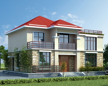 AT1783美观大方二层复式楼中楼带屋顶花园自建别墅施工图纸12.8mX11.2m