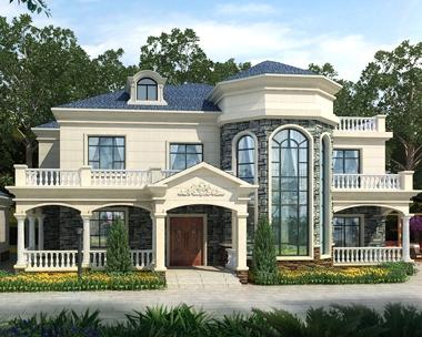 AT1835二层简欧式带外廊楼中楼复式别墅设计图片及外观图26mX13m