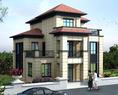 2019新中式风格AT1756漂亮大方三层复式别墅设计图纸11mX11.8m