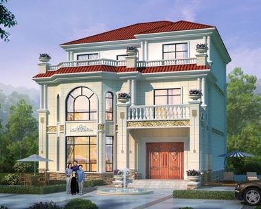 2019新款别墅AT1865三层楼房复式大厅别墅全套设计图纸12mX14.8m