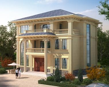 AT1890简欧风格三层兄弟合建套房别墅设计施工图纸14mX13.7m
