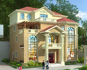 2019新款-送院门设计-AT1878欧式四层复式楼大气别墅设计图纸15.2X15.5