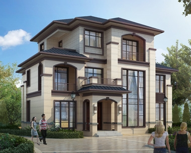 AT1867时尚简约新中式风格三层复式楼别墅设计施工图纸16mX12.6m