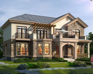 AT1893乡村自建二层美式风格漂亮别墅设计施工图纸16mX12.1m