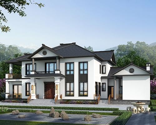 新款带内院/柴火房经典新中式二层自建别墅全套图纸27mX12.7m