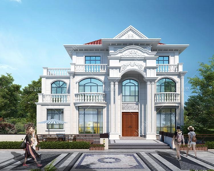 欧式风格四间三层豪华高端别墅建筑设计施工图纸15.4mX8.2m