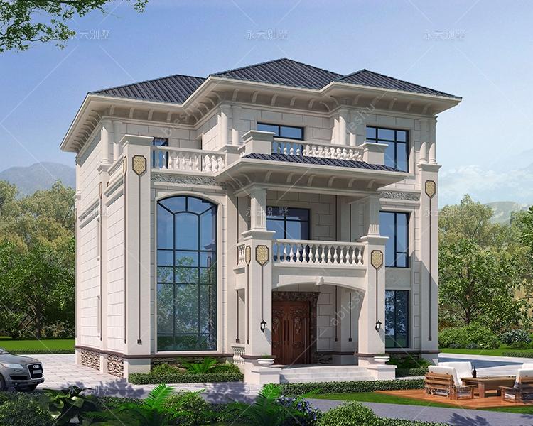 独立套房式三层简欧别墅设计建筑施工图纸12.2mX15.8m